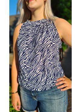 Haltertop Zebra blauw