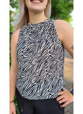 Haltertop Zebra zwart
